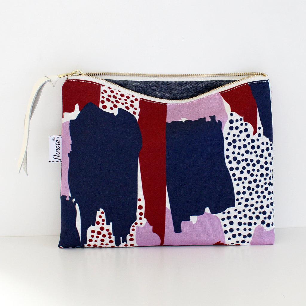 Large Zipper Pouch, Brushstrokes