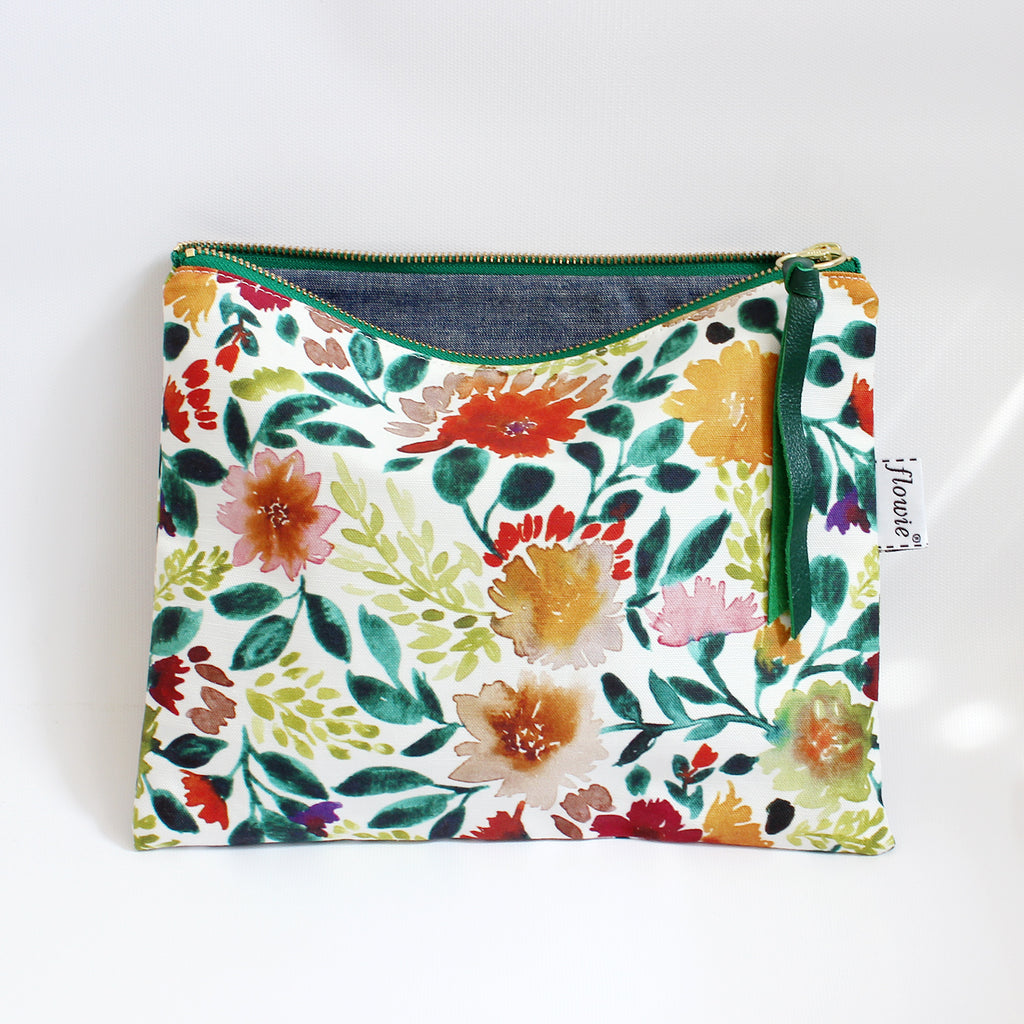 Large Zipper Pouch, Camila, green