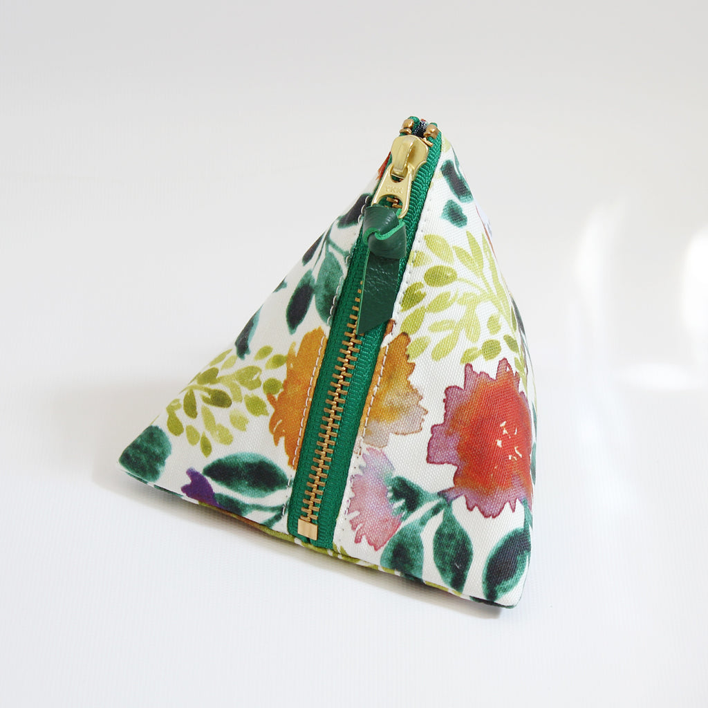 Triangle Zipper Pouch, Camila, green
