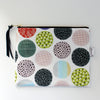 Large Zipper Pouch, Fancy Circles