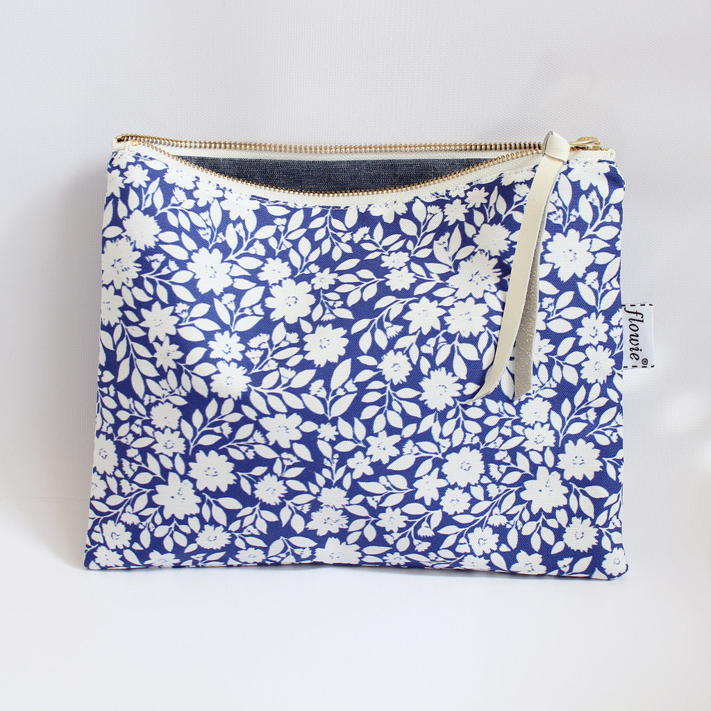 Large Zipper Pouch, Gemma, blue
