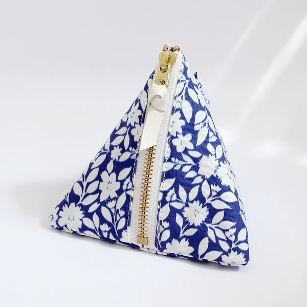 Triangle Zipper Pouch, Gemma, blue
