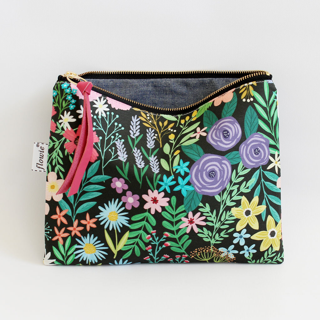 Large Zipper Pouch, Imaginary Field, black