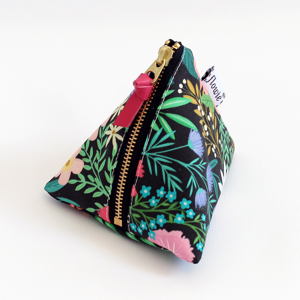 Triangle Zipper Pouch, Imaginary Field, black