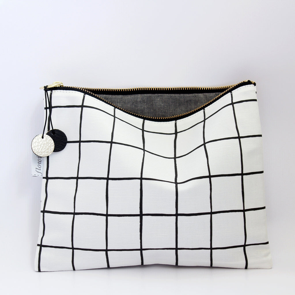 Large Zipper Pouch, Grid