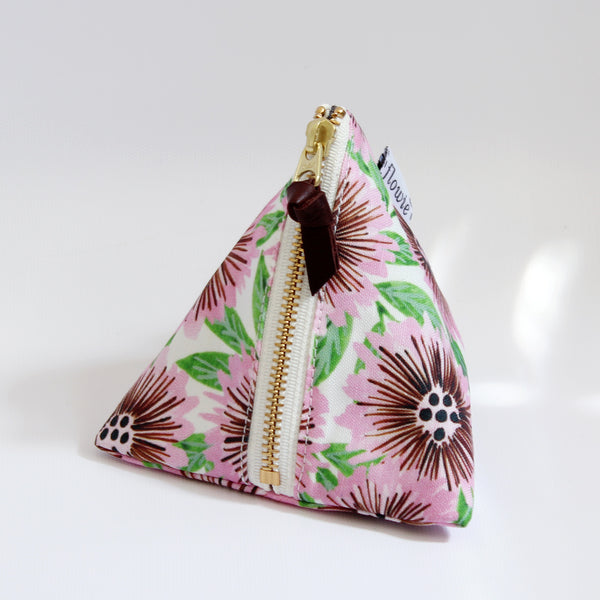 Triangle Zipper Pouch, Stella, pink/green