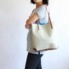 Colorblock leather tote, Blue/Bone