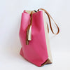 Colorblock leather tote, Hot pink/champagne gold