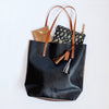 Colorblock leather tote, Black/Bronze