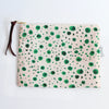 Large Zipper Pouch, Green Dots
