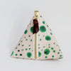 Triangle Zipper Pouch, Green Dots