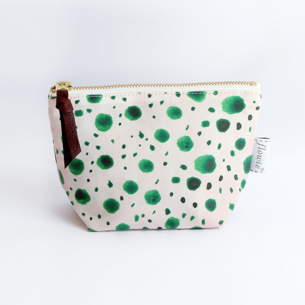 Zipper Pouch, Green Dots