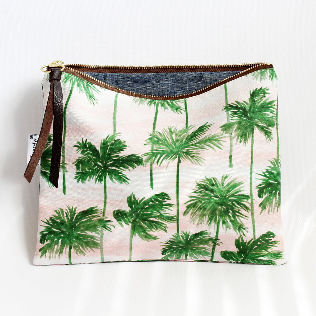 Large Zipper Pouch, Palm trees
