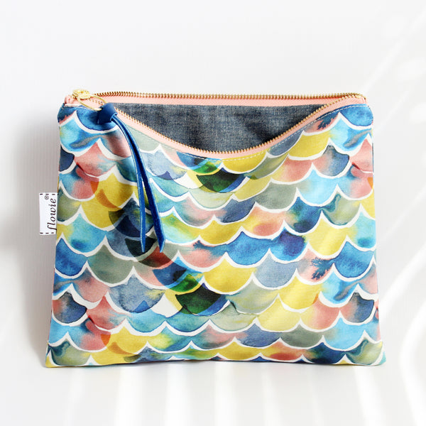 Large Zipper Pouch, Sunset ocean