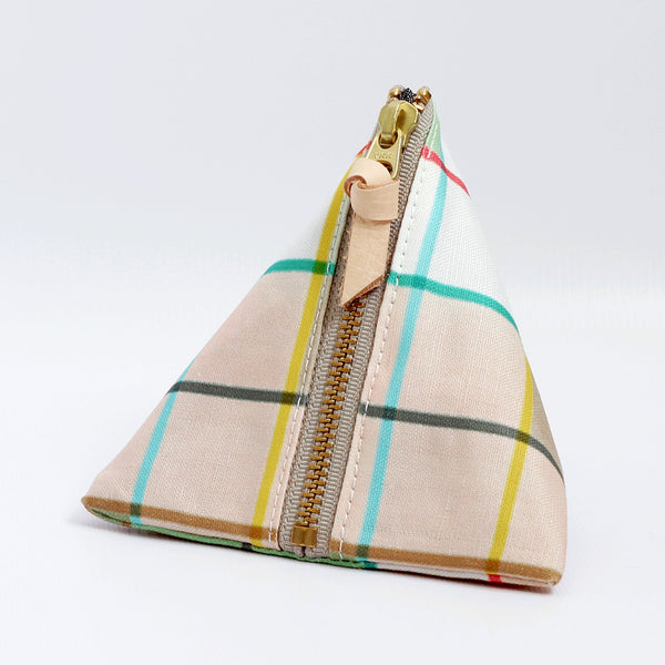 Triangle Zipper Pouch, Plaid