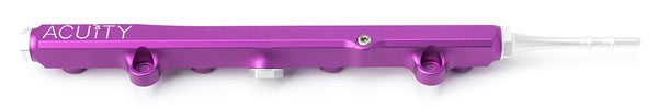 Honda K-Series billet aluminum fuel rail in purple with quick disconnect fitting