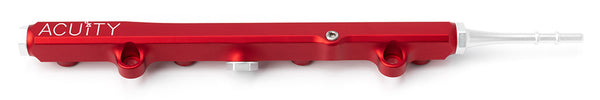 Honda K-Series billet aluminum fuel rail in red with quick disconnect fitting