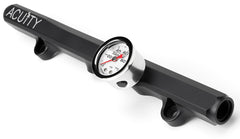 Black ACUITY Honda K-Series Fuel Rail with Fuel Pressure Gauge