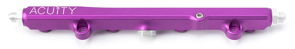 Honda K-Series billet aluminum fuel rail in purple with -6AN k-swap fittings
