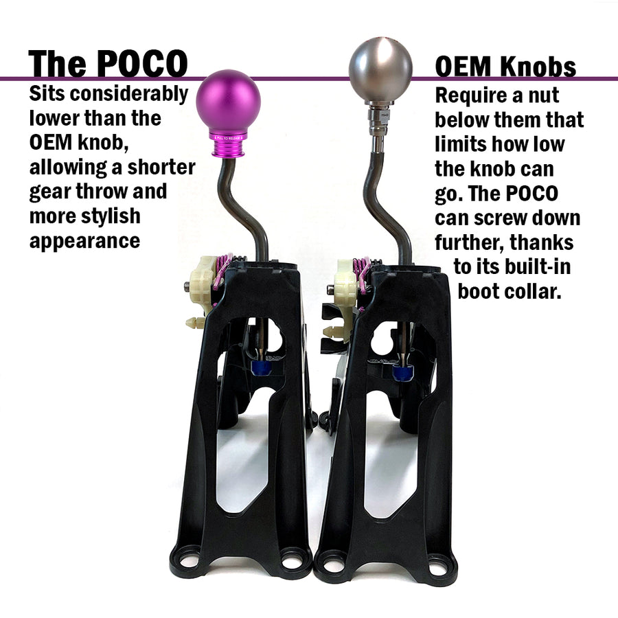 POCO Low-Profile Shift Knob in Satin Purple Anodized Finish