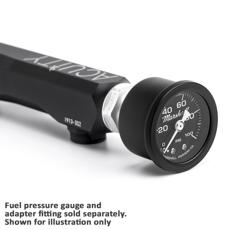 Gauge mounted on Acuity Fuel Rail in Satin Black Anodized Finish for Honda K-Series