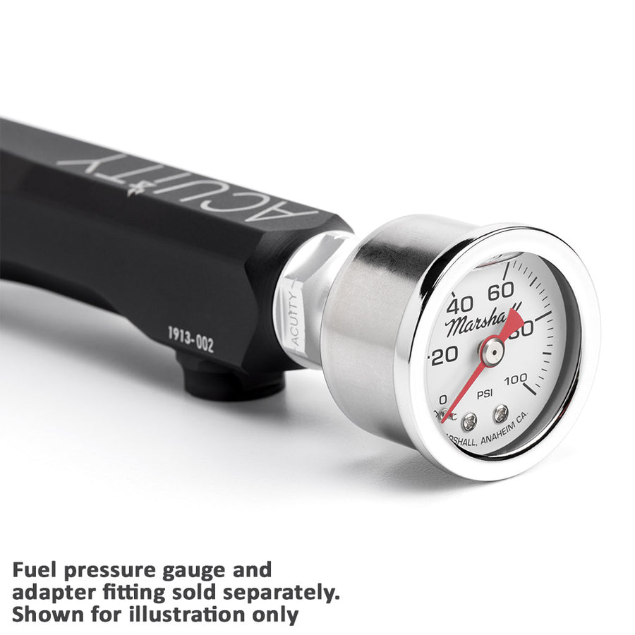 Pressure gauge mounted on Acuity Fuel Rail in Satin Black Anodized Finish for Honda K-Series