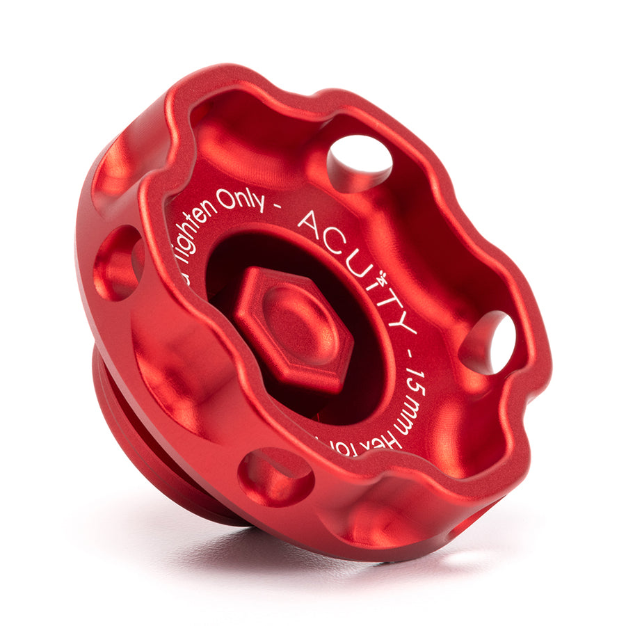Podium Oil Cap in Satin Red for Hondas/Acuras