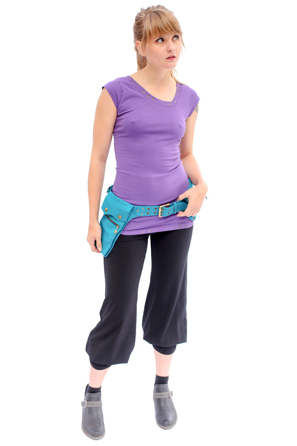 Asymmetrical Pocket Belt Turquoise