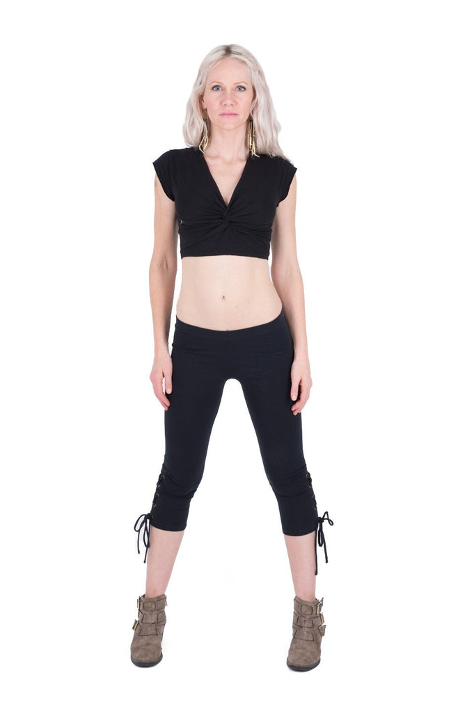Organic Black Lace up Legging