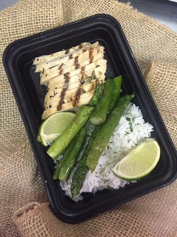 GRILLED CHICKEN. LIME CILANTRO JASMINE RICE. ROASTED ASPARAGUS - eatpmp