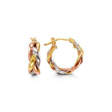 Braided Tri-Gold Hoop Earring
