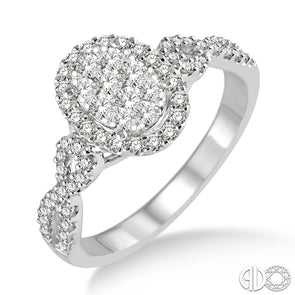 Lovebright Oval Shape Round Diamond Halo Ring