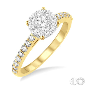 Lovebright Solitaire Round Diamond Ring With Yellow Gold Diamond Set Shank