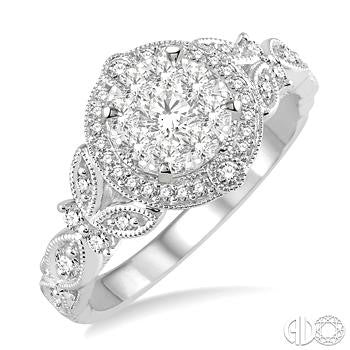 Lovebright Halo Diamond Ring With Floral Accents