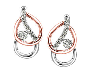 Swirled Rose & White Gold Canadian Diamond Earrings
