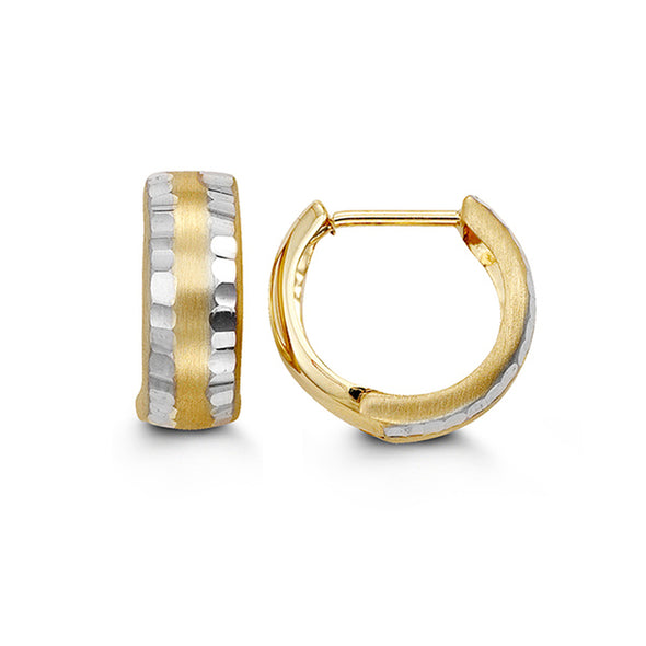 Two Tone Satin Huggie Earring