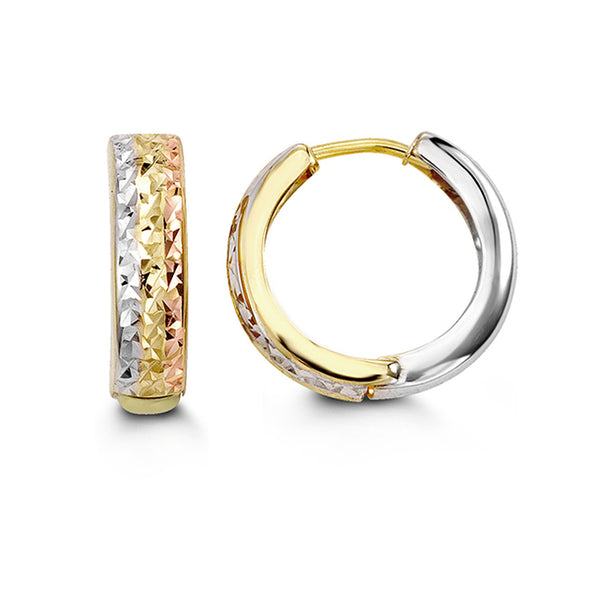 Tri Tone Striped Diamond Cut Huggie Earring