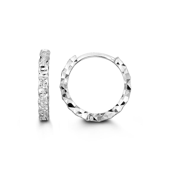 Diamond Cut Slim Huggie Earring