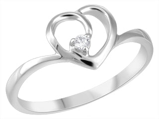 White Gold Diamond Heart Ring