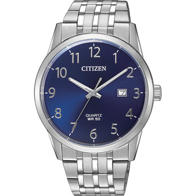 Gents Silver And Blue Quartz Watch