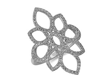 Pave Petals White Gold and Diamond ring