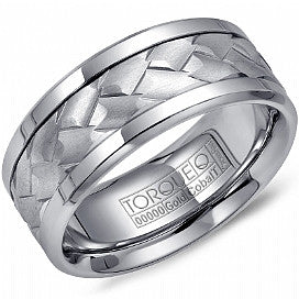 Torque Textured Cobalt & 10Kt White gold Men's Wedding Band