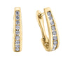 Channel Set Diamond Lever Back Earrings