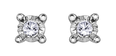 Claw Set White Gold Diamond Stud Earrings