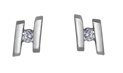 Bar Set White Gold Diamond Stud Earrings