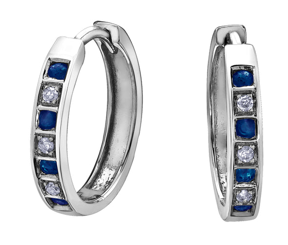 Diamond Sapphire Huggie Earrings