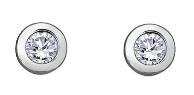 Bezel Set White Gold Diamond Stud Earrings