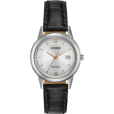 Silver Eco-Drive Watch with Black Leather Strap
