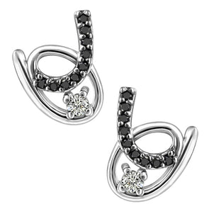 Black and White Diamond Stud Earrings