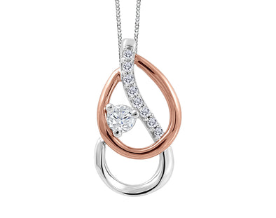 Overlap Teardrop Two-Tone Diamond Pendant